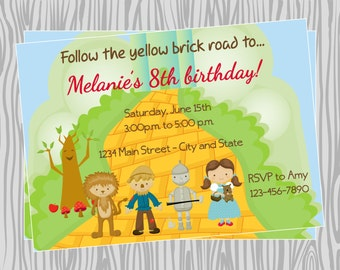 DIY - Wizard of Oz Inspired Birthday Invitation - Coordinating Items Available