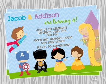 DIY - Princeses & Superheroes Birthday Party Invitation - Coordinating Items Available