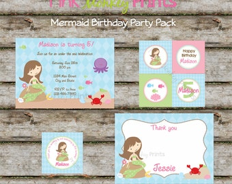 DIY - Girls Mermaid Under the Sea Birthday Party Pack - Coordinating Items Available