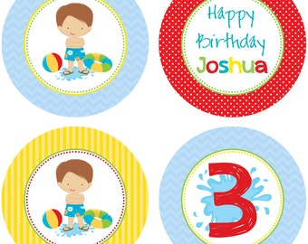 DIY - Boys Pool Party  Birthday Cupcake Toppers- Coordinating Items Available