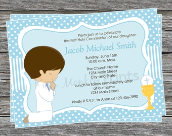 DIY -  Boy First Communion Invitation 2- Coordinating Items Available