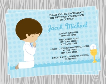 DIY -  Boy First Communion Invitation 1- Coordinating Items Available