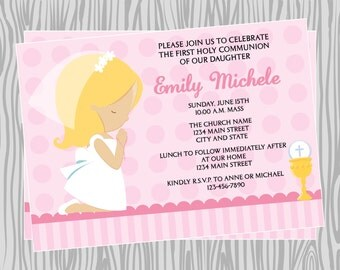 DIY -  Girl First Communion Invitation 1- Coordinating Items Available