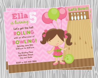DIY - Girl Bowling Birthday Party Invitation - Coordinating Items Available