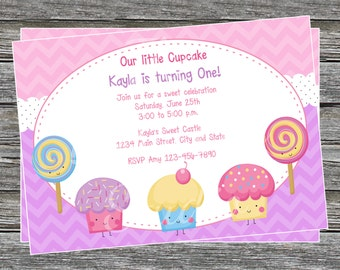 DIY - Girl Sweets Birthday Party Invitation - Coordinating Items Available