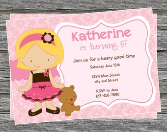 DIY - Girl Teddy Bear Birthday Invitation - Coordinating Items Available