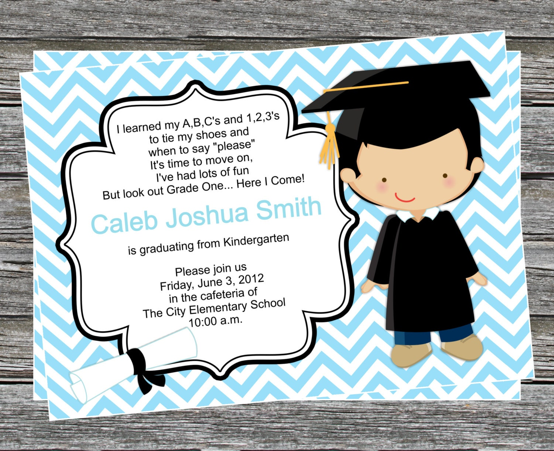 DIY Boy Pre K or Kindergarten Graduation Invitation