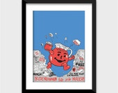 Koolaid Man Bursting Through The Berlin Wall Art Print - Multiple Sizes Available - Funny Poster