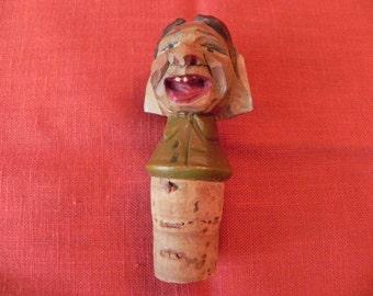 Vintage Wooden Carved Cork Bottle Stopper