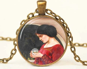 The Crystal Ball Pendant Necklace, Waterhouse Pendant Necklace, Pre-Raphaelite Charm Pendant