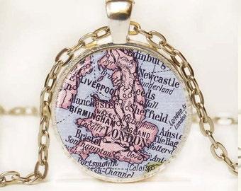 London map pendant, London jewelry, London jewelry resin pendant, London necklace charm