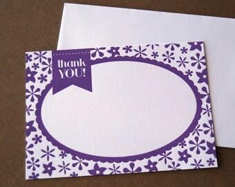 Thank You Letterpress Flat Note Card Set