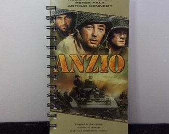 Recycled Notebook From Anzio Movie VHS Box, Handmade, Upcycled Journal, Sketchbook, Blank Pages, Diary