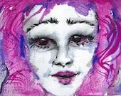 Original Watercolour Painting, Modern, Contemporary, Girl, Pink Hair