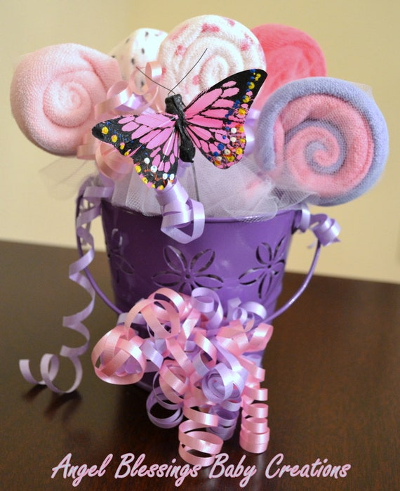 It s a girl baby shower centerpiece washcloth lollipop