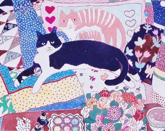 Artists Note Cards- Bon Bons- cat on couch