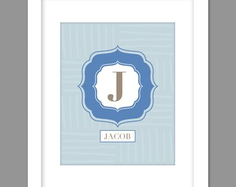Digital Download Personalized Boys Blue Gray Large Centered Initial with name below, - 8x10 or 11x14