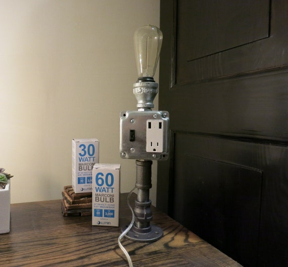 industrial chic pipe table lamp with usb outlet and vintage. Black Bedroom Furniture Sets. Home Design Ideas