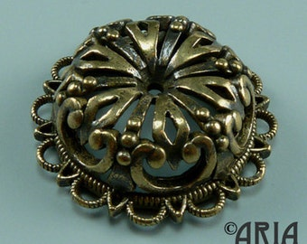 DAMASK MEDALLION: Damask Antique Silicon Bronze Small Medallion Connector Pendant, 7.28x20.2mm (DMMD01)