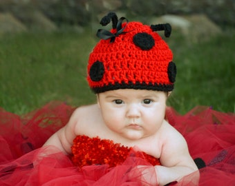 Baby Girl's Little miss Lady Bug hat with antennas Many Sizes preemie, newborn, 0-3 month, 3-6 month, 6-12 month,1-3 yr