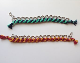 Yarn Cotton Bracelet - Silver Chain