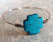 Turquoise Cross Silver Wired Bracelet