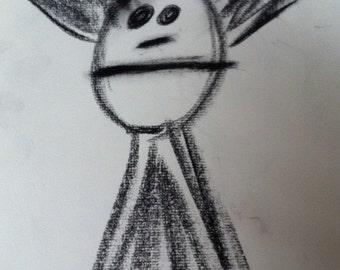 "Art Original Charcoal Sketch 9x12 ""SPAZZ"""