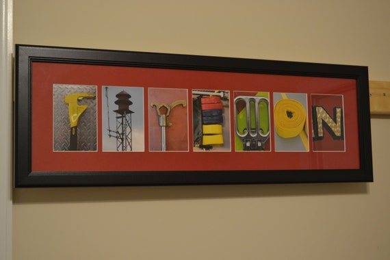 Items similar to 7 letter name personalized firefighter for Personalized firefighter letter art