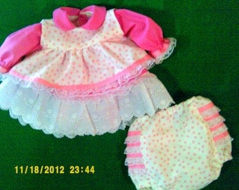 Preemie dress, pinafore and panties