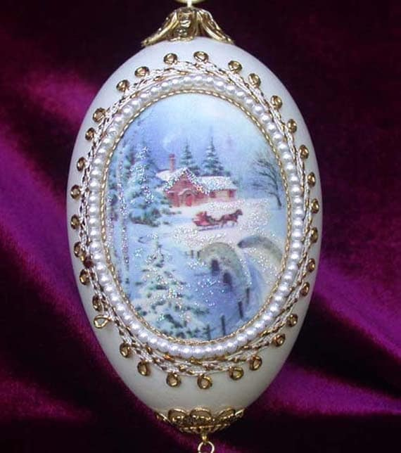 Wintery Christmas Silk Print Goose Egg Ornament EC35