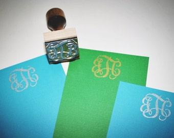 Custom Monogrammed Vine Classic Three Initial Rubber Stamp