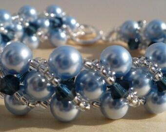 Pearl Bracelet, Bridal Jewelry, Blue Pearl and Crystal Bracelet, Light Blue Swarovski Pearls and Dark Blue Crystal Bracelet - 7 Inches