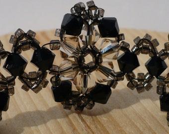 Black Bracelet, Black and Gold Bracelet, Swarovski Bracelet, Swarovski Jet and Golden Shadow Bicone Beaded Bracelet - 7 Inches