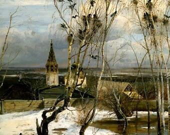 "Alexei Savrasov : ""The Rooks Have Returned / Come Home"" (1871) - Giclee Fine Art Print"