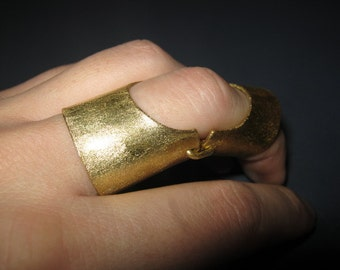 Full Finger Ring, Statement Ring, Armor ring, One of a Kind, Finger, Knuckle, Articulated Knuckle Armor Ring, Double ring, Gold Brass ring
