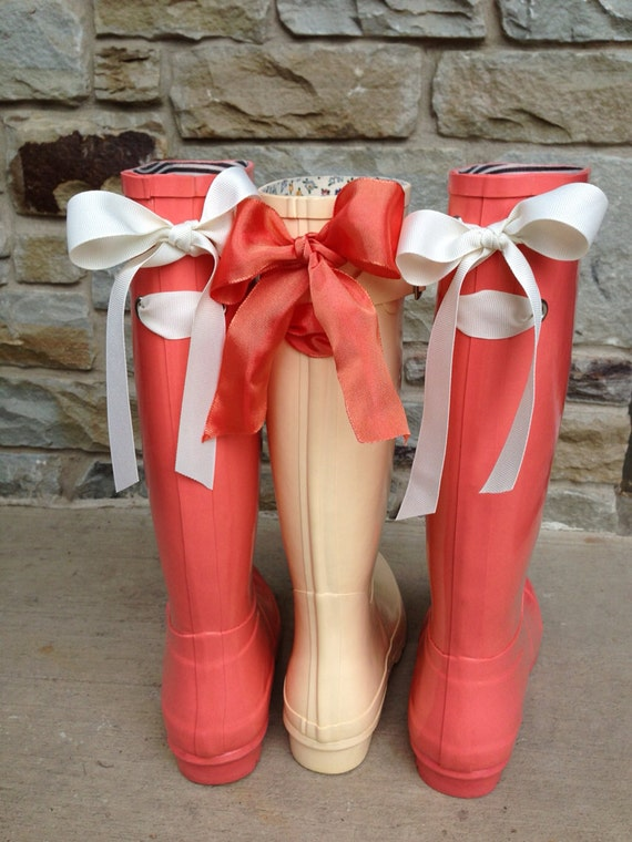 Items similar to Coral Rain Boot with Your Choice of Custom Bow on ...