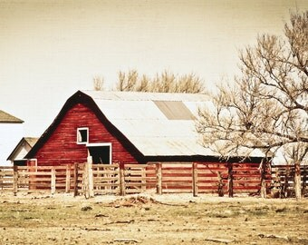 Barn Photography, red barn, livestock barn, corral, farm life, country, landscape, Country Home Decor, Fine Art Print