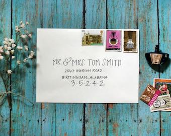 Custom Calligraphy Modern Wedding Envelopes Party Envelopes - Simple Strokes