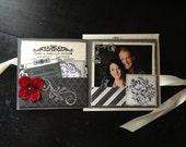 Gorgeous Triple Pocketfold Wedding Invitation, Luxury Wedding Invite, Lavish Wedding, Red Grey Black Ivory, Unique Square Wedding Invite