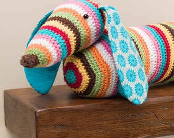 Stripy dachshund sausage dog crochet doorstop or draught excluder.