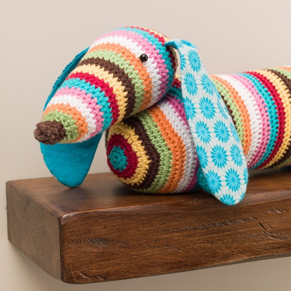 Knitting Pattern For Dog Draught Excluder : Stripy dachshund sausage dog crochet doorstop or draught