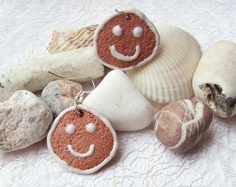 Polymer clay earrings Smiley face earrings Dangle earrings Brown earrings Cookie earrings OOAK earrings Spring earrings Smile earrings