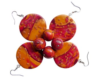 Polymer clay earrings Round earrings Abstract earrings Red earrings Yellow earrings Golden earrings Beaded earrings Dangle Casual Indie