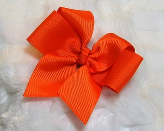 Solid Bright Orange Girls 4 inch Single Hair Bow With Your Choice of Clip
