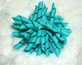 Korker Hair Bow - Solid Teal  4.5 Inch Girls Korker Hair Bow with your Choice of Clip