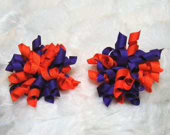 Orange & Purple Korker Hair Bow Set - Matching Petite Bow Set - Great for Pigtails or as a Single