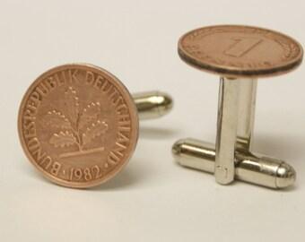 1 Pfennig German coin Cufflinks Free gift bag