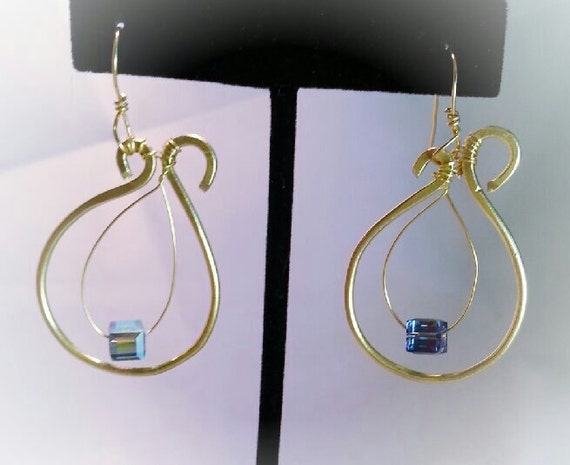 Beautiful Harp Earrings with  floating crystal accent