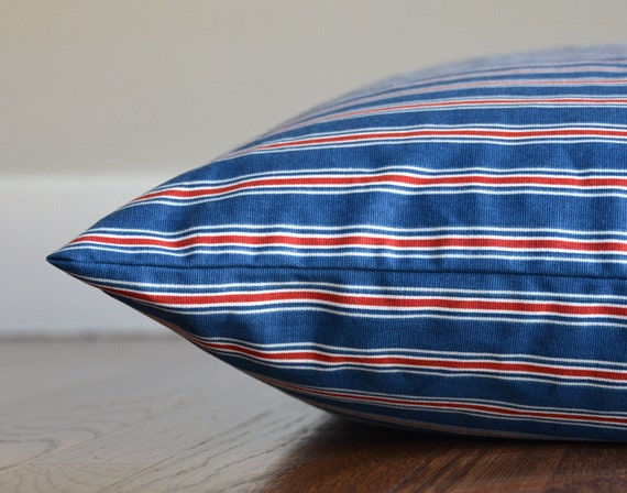"Last One! Striped Dog Bed Cover, Blue and Red Nautical Pet Bed, Medium / Large (25x35"")"