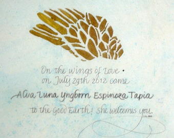 Birth Announcement- On the Wings of Love.